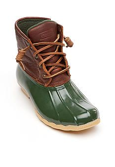 Super cute green and brown duck boots!