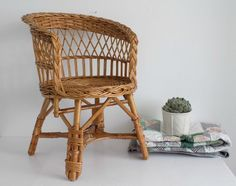 L O V E L Y little Child wicker armchair   Hand made chair   Kids room decor   Natural Rattan chair