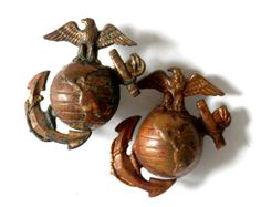 Pair WWII USMC Eagle Globe and Anchor Hat Pins by bigbangzero, $54.00