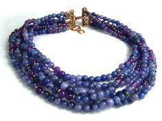Multistrand beaded necklace blue jade amethyst multi by jwstyle, $130.00