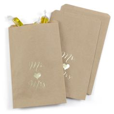 25ct Mr and Mrs Treat Bags - Kraft, Earth