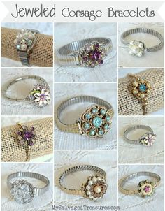 Jeweled Corsage Bracelets. A great way to use your stash of vintage clip-on earrings...and so pretty. Great Tutorial...