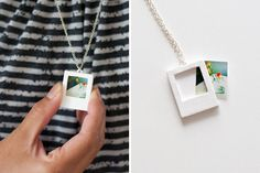 Make this Polaroid charm necklace using Sculpey clay.