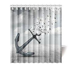 """Achetez GCKG Vintage Anchor Bird Shower Curtain Hooks 66x72 inches Grey Color Fabric """"Letting Go""""-A Heavy Anchor with Flying Bird à Walmart Canada. Magasinez plus de Rideaux de douche disponible en ligne à Walmart.ca."""