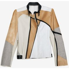 Helmut Lang Segment Suiting Jacket ($929) ❤ liked on Polyvore featuring outerwear, jackets, coats & jackets, tops, helmut lang, white, fleece-lined jackets, asymmetrical zip jackets, helmut lang jacket and white jacket