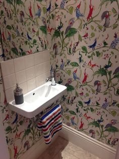Quentin Blake Wallpaper - love it! Downstairs Cloakroom, Downstairs Toilet, Quentin Blake Wallpaper, Sweet Home, Small Toilet, Interior Design Living Room, Home Projects, Interior Inspiration, New Homes