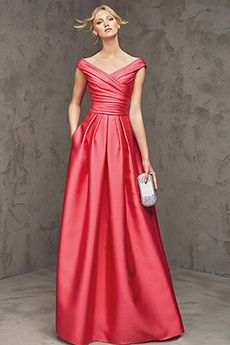 A-Line/Princess Off-the-shoulder Floor-length Elastic Woven Satin Evening Dress