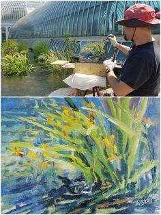 """Wind & Water"" Just painted #pleinair @ComoZoo & Centennial Gardens. Exhibit opens Sun, 6/11 http://www.comozooconservatory.org/blogs/keeper-blogs/minnesota-en-plein-air-a-painting-exhibition-now-open/ #conservatory #landscapepainting #gladiolus #watergardens"