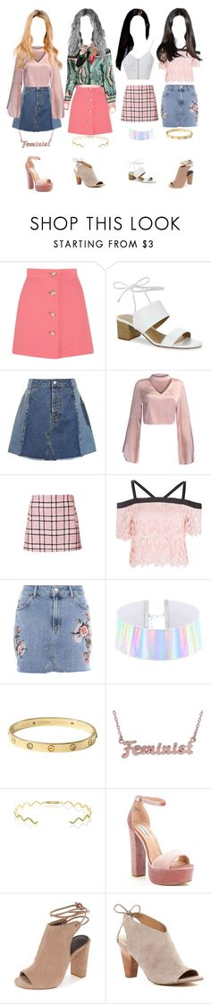 """""""music video no. 1"""" by taekook-junghyung ❤ liked on Polyvore featuring Miu Miu, Tahari, Topshop, WithChic, Cartier, me you, Sabine Getty, Steve Madden and Franco Sarto"""