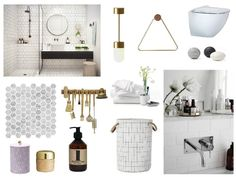 Sarah 's Hemnethusetbadrum moodboard Interior Design Mood Board, Interior, Interior Inspiration, Staging Furniture, New Homes, Round Mirror Bathroom, Scandinavian Bathroom, Coastal Design, Interior Design