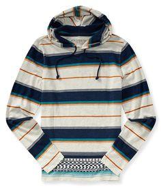 Long Sleeve Striped Hooded Tee - Aeropostale
