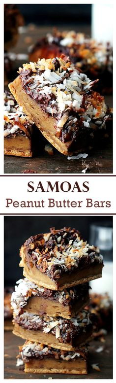 Samoas Peanut Butter Bars - SO delicious and  Gluten Free Peanut Butter Bars topped with all the sweet Samoa cookie fixings! These are amazing!!
