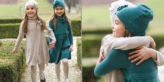 #kidsclothing beige wool/cashmere dress + creamy white chiffon crepe undercoat and beige wool/cashmere dress