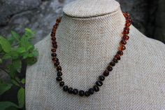 "This Necklace is 12"" long, with stones that Vary from Dark Brown to Light Golden Honey Towards the Back."
