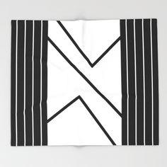 Irregular Chevron - White/Black Throw Blanket