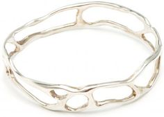 Curved & Hollowed Oxidized Sterling Silver Bangle. Pretty!