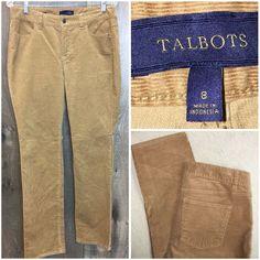 Talbots Womens Sz 8 Corduroy Tan Brown Pants | UU 3 #Talbots #Corduroys