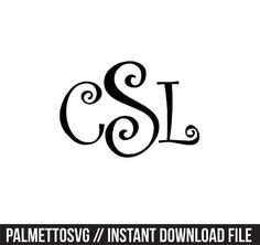 Curly monogram Svg, Cricut Cut Files, Silhouette Cut Files  This listing is for an INSTANT DOWNLOAD. You can easily create your own projects. Can be used with the silhouette cutting machines or other machines that accept SVG.  It includes 1 zip folders  1. svg, dxf and pdf files  SVG & DXF Files for electronic cutting machines. You must have an Electronic Cutting Machine that reads SVG or DXF files to use these designs like the Silhouette.  Files can be downloaded instantly. No physical i...