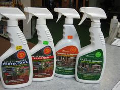 Try our New Biodegradable Patio Furniture Cleaners to keep your patio furniture & cushions looking new!  FURNITURE CLEANER - Safely soaks in & lifts up soils & stains so that they can be easily rinsed away.   FURNITURE PROTECTANT - The world's most powerful UV screening product. Leaves an enduring repellent finish that rejects soiling.  FABRIC CLEANER - For all brands of indoor & outdoor fabrics.  FABRIC GUARD - A water repellant to protect your outdoor fabrics from rain & mildew stain.