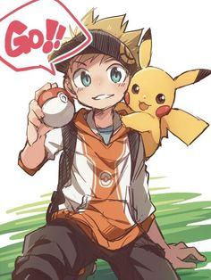♥ Boy... Male Protagonist... Pikachu... Pokémon... Pokémon GO!... Pokeball... Anime ♥