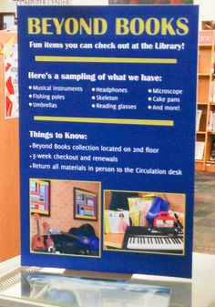 """Check out our """"Beyond Books"""" collection. Patrons of the OLPL can check out unusual cake pans, guitars and more!"""