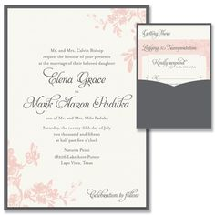 Floral Toile Clutch Pocket Wedding Invitation in Blush and Smoke | by The Green Kangaroo