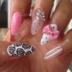 <3 #nail #nails #nailart #unha #unhas #unhasdecoradas #floral #poa #bolinhas #polkadots #dots #listras #stripes #bow #lacinho