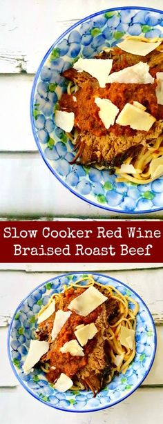 """Gifted red wine becomes the base for this tender and rich Slow Cooker Red Wine Braised Roast Beef. The tomatoes cooked with the beef make the perfect """"gravy"""" for your pasta."""
