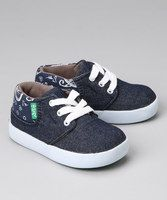 #zulily #fall Little ones will love learning to lace up this precious pair all on their own, and an extra elastic band around the back makes pulling on these pups super easy. With thick, durable soles, mini adventurers can scamper and play about in effortless style.Denim upperVulcanized sole