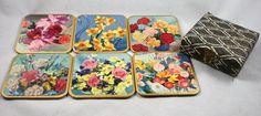 Vintage Set of 6 WinElWare Floral Coasters by LuckySevenVintage, $15.00