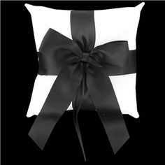 Black and white decorative cushion. This is so adorable! it looks so cute. Looks a bit like a wrapped present you would give for a birthday or Christmas. Art Craft Store, Craft Stores, Dream Wedding, Wedding Dreams, Wedding Stuff, Ring Pillow, Black Ribbon, Wedding Events, Weddings