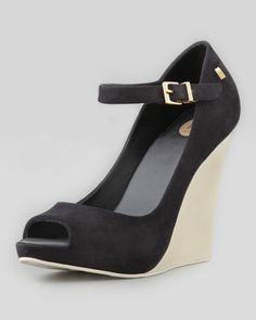 Prism+II+Mary+Jane+Wedge,+Black/Beige+by+Melissa+Shoes+at+Neiman+Marcus.