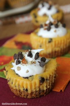 Chocolate Chip Pumpkin Cheesecake Bites // Single serving cheesecakes, with a pecan graham cracker crust full of pumpkin and chocolate chips! Fall Desserts, Just Desserts, Delicious Desserts, Yummy Food, Sweet Desserts, Vegan Desserts, Cheesecake Bites, Pumpkin Cheesecake, Cheesecake Recipes