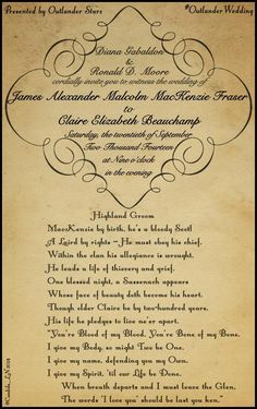 Claire and Jaime's wedding invitation....from Outlander