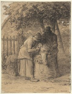 Jean-François Millet: Sheep Shearing Beneath a Tree (40.12.3) | Heilbrunn Timeline of Art History | The Metropolitan Museum of Art