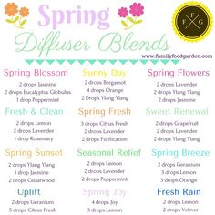 Spring Diffusing Blends for Essential Oils