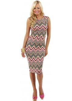 Designer Desirables Soft Jersey Pink Zig Zag Print Midi Dress