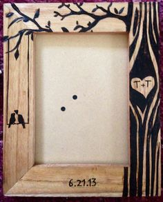 Personalized wood burned couples frame by TShop21 on Etsy