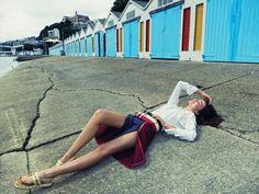Miranda Kerr Along Oriental Bay. Calvin Klein Collection shirt, $395; (212) 292- 9000. Tommy Hilfiger skirt, $898; (212) 223-1824. Acne belt, $500; acnestudios.com.