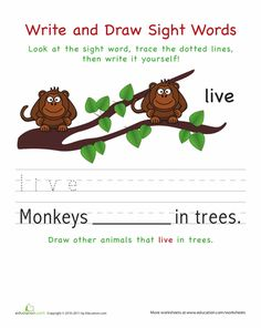 Worksheets: Write and Draw Sight Words: Live