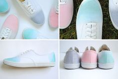 Dip sneakers into fabric dye or Kool-Aid for a sweet ombre look.