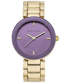Anne Klein Watch, Women's Purple Dial Gold-Tone Bracelet 32mm AK-1290PRGB - Women's Watches - Jewelry & Watches - Macy's - unique womens watches, womens small watches, big face watches womens