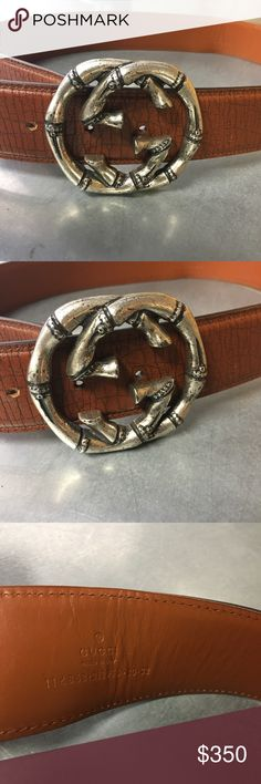 "Gucci bamboo belt 100% authentic . Size 80.32 and has had a hole punched one in. This fits an 25"" waist and under to me , runs sorta small. Very nice design and the belt is in good condition ! Will not ship with a box .Better pictures coming soon Gucci Accessories Belts"