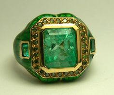 20TCW Impeccable Colombian Emerald Green Diamond Enamel Gold Ring ...