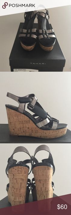Tahari Wedge Sandals- Simone Pewter and Black T-Strap w/ Adjustable Buckle, 1.5 inch Platform and 4.5 inch Cork Heel Tahari Shoes Sandals