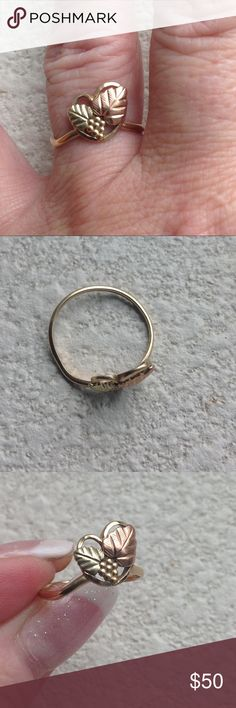 Delicate Black Hills Gold Heart-Shaped Ring So pretty and feminine. Jewelry Rings