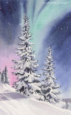 Northern Lights Watercolor by Amy Giglio - Doodlewash Watercolor Artists, Watercolor Landscape, Landscape Paintings, Watercolor Paintings, Landscapes, Watercolors, Winter Szenen, Winter Trees, Painting Snow