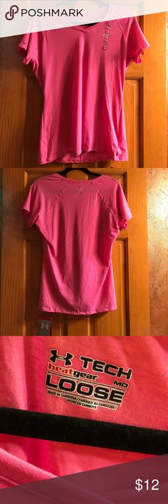 Pink under armour workout t-shirt NEW WITH TAGS! Pink v- neck work out tee. Loose fitting! Under Armour Tops Tees - Short Sleeve