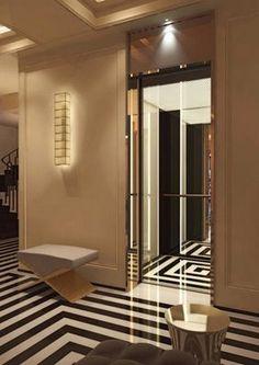 Make an Entrance. Black and white striped tile. Interior Designer: Jacques Grange.