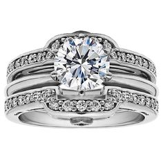Sterling Silver 1ct Round Cubic Zirconia Solitaire Wedding Ring and Squared Guard Set